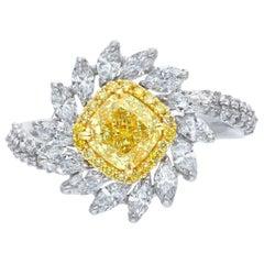 GIA Graded 1.07 Carat Yellow Cushion Engagement Ring-R878