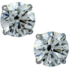 GIA Graded 2.08 Carat Round Brilliant Cut Diamond Solitaire Stud Earrings