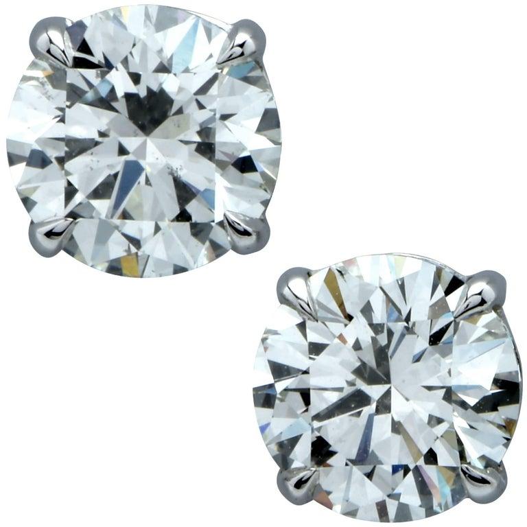 GIA Graded 2.17 Carat Brilliant Cut Diamond Solitaire Stud Earrings