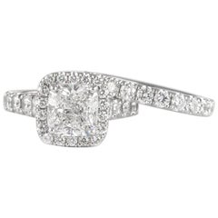 GIA Graded 2.30ct Cushion Cut Diamond Ring with an Eternity Band 18k White Gold