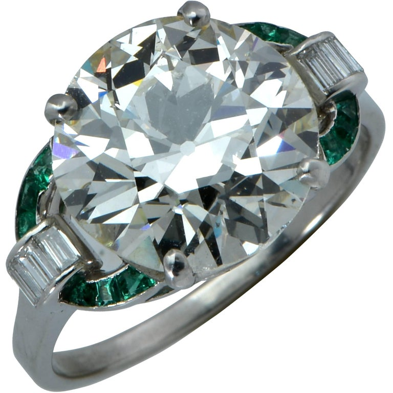GIA Graded 6.19 Carat Art Deco Diamond and Emerald Engagement Ring