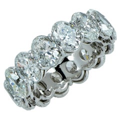 Vivid Diamonds GIA Certified 9.92 Carat Oval Cut Diamond Platinum Eternity Band