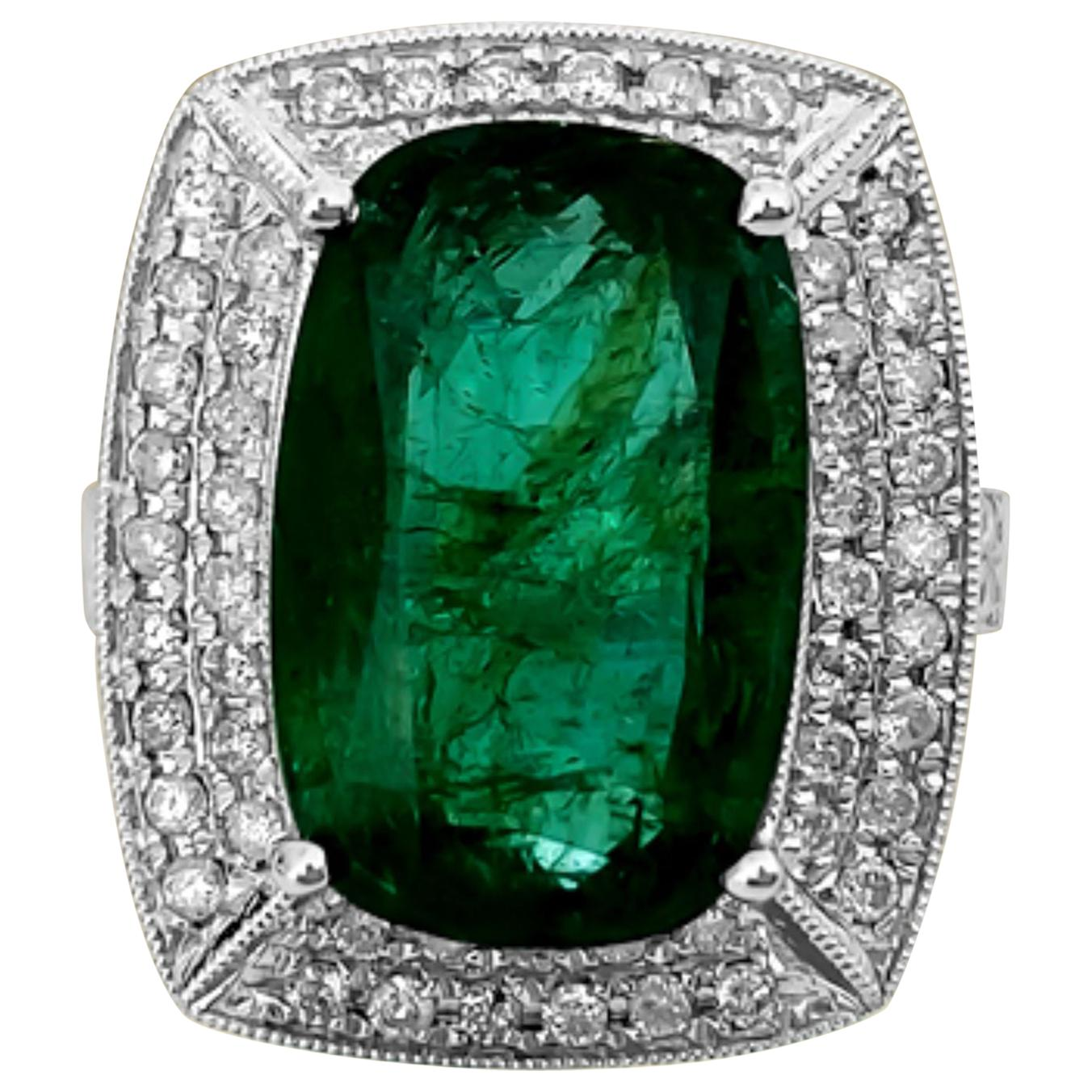 GIA Graduate Certified, 7.25 Carat Colombian Emerald and Diamond Ring