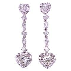 GIA Heart Shape Diamond Dangling Earrings