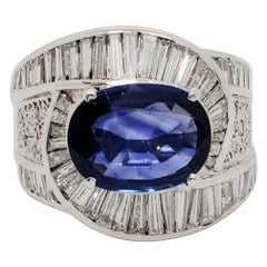 GIA Heated Sri Lanka Blue Sapphire Oval and White Diamond Cocktail Ring