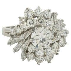 GIA Heavy Platinum 3.93CT VS Diamond Cluster Cocktail Ring W/1.01CT Ctr
