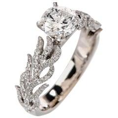 GIA Hidalgo Round Diamond 18 Karat Gold Fire Flame Band Engagement Ring