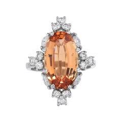 GIA Imperial Oval Topaz Diamond 18K Gold Cocktail Ring