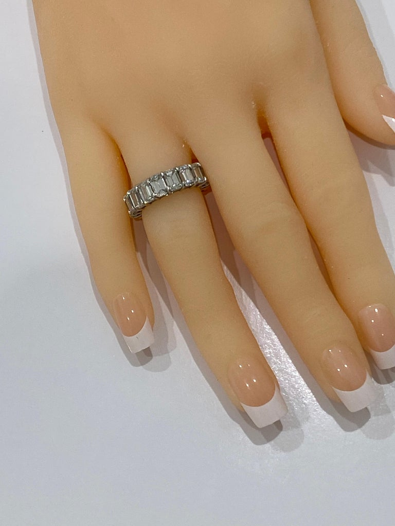 Contemporary GIA Inscripted Emerald Cut Diamond 9 Carat Eternity Band For Sale