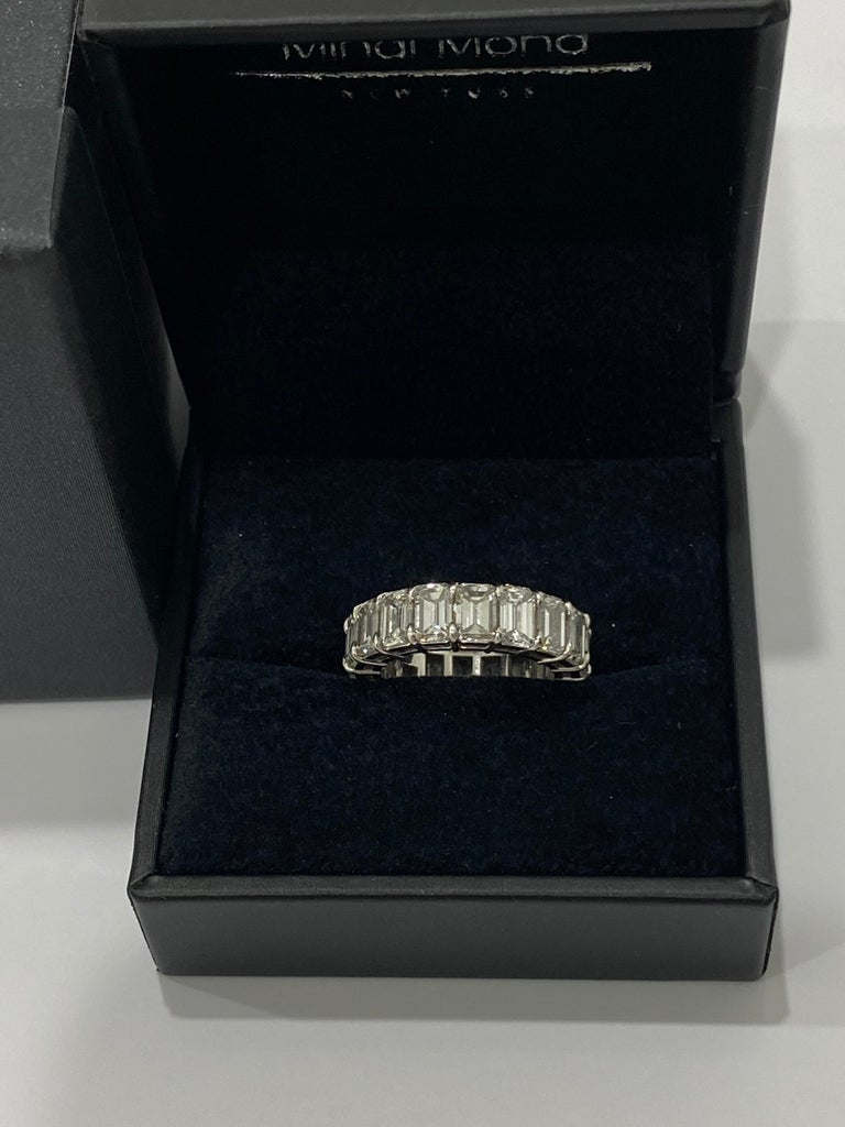 Women's or Men's GIA Inscripted Emerald Cut Diamond 9 Carat Eternity Band For Sale