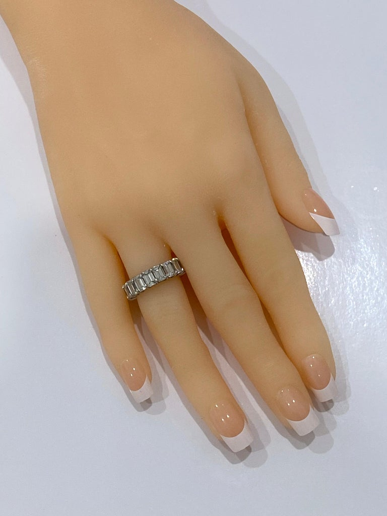 GIA Inscripted Emerald Cut Diamond 9 Carat Eternity Band For Sale 1