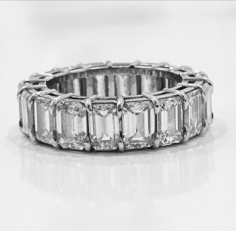 GIA Inscripted Emerald Cut Diamond 9 Carat Eternity Band For Sale 2