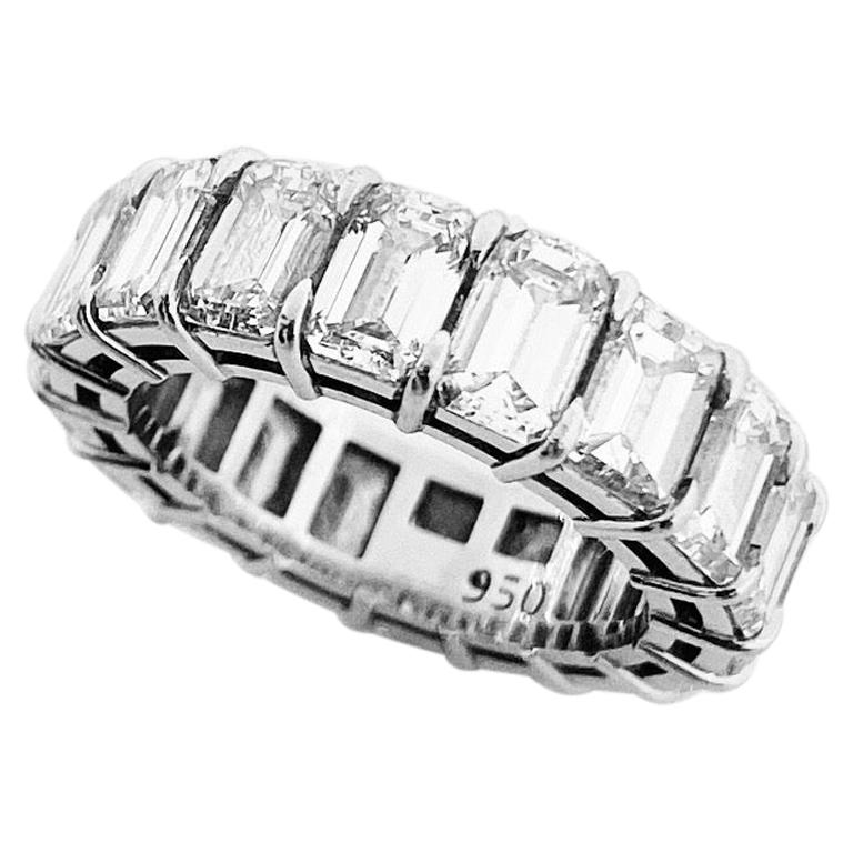 GIA Inscripted Emerald Cut Diamond 9 Carat Eternity Band For Sale