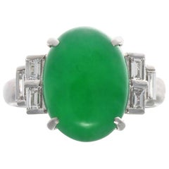 GIA Jadeite Jade Diamond Platinum Ring