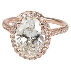GIA James Allen Oval Diamond Halo Ring 14 Karat Rose Gold K VS2 2.74 Carat
