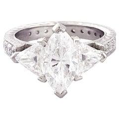 GIA Marquise and Trillion 3.50 Diamond Custom Platinum Three-Stone Ring