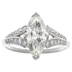 GIA Marquise Cut Diamond Platinum Ring
