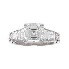 GIA Modern 2.05 Carat G VS2 Square Emerald Cut Diamond Platinum Ring