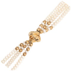 GIA Multi Stand Pearl and 14K Gold Necklace, circa 1980