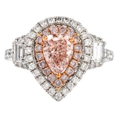 GIA Natural 1.03 Carat Fancy Orangey Pink Diamond Platinum Engagement Ring