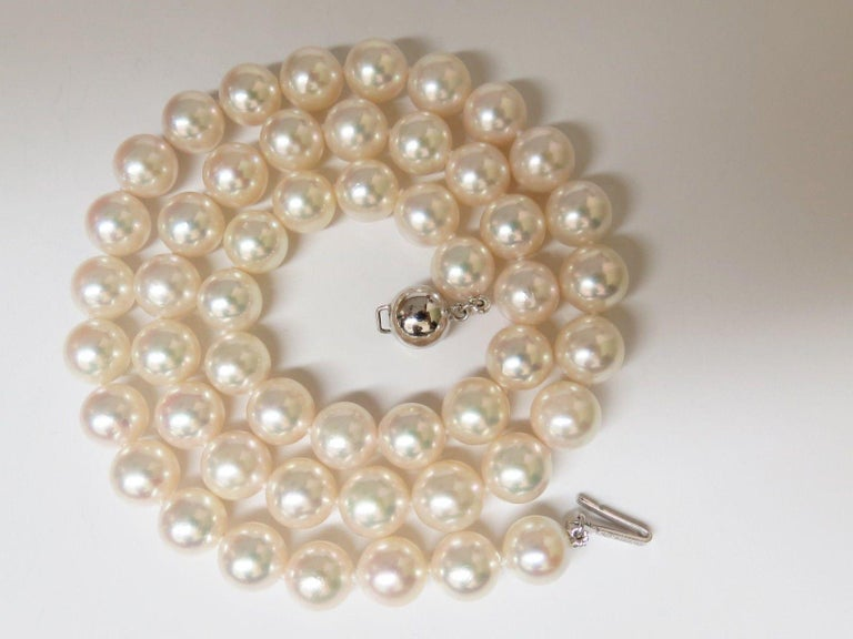 ebfed0a79fb2d GIA Natural Akoya White Pearls Necklace 14 Karat Gold Ball Clasp