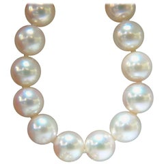 GIA Natural Akoya White Pearls Necklace 14 Karat Gold Ball Clasp