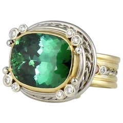 GIA 18.36 Ct.Natural Blue Green Tourmaline in Platinum and 18 Karat Gold