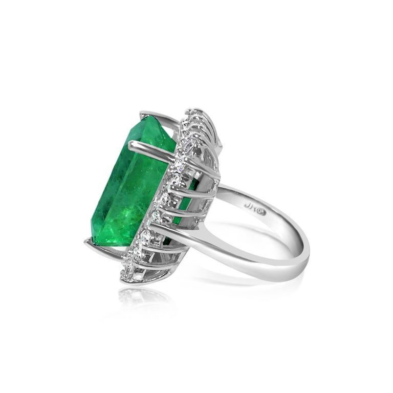 Emerald Cut GIA Certified Natural 20 Carat Colombian Emerald Diamond Ring For Sale