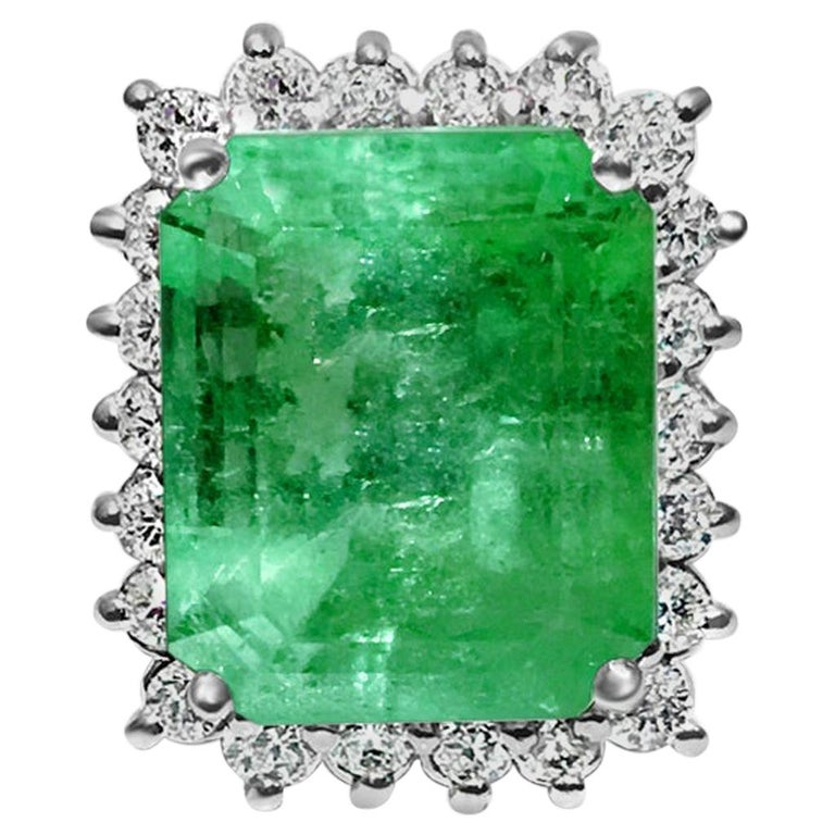 GIA Certified Natural 20 Carat Colombian Emerald Diamond Ring For Sale