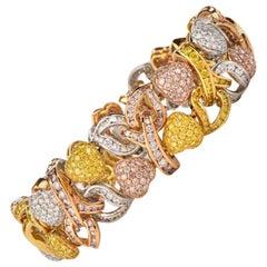 GIA Natural Fancy Pink Yellow White Diamond 18 Karat Gold Heart Bracelet