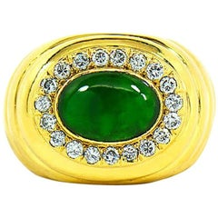 GIA Natural Green Jadeite Jade and Diamond Ring, 18 Karat Yellow Gold