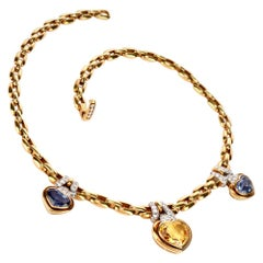 GIA Natural Heat Sapphire No-Heat Diamond Choker 18 Karat Gold Necklace