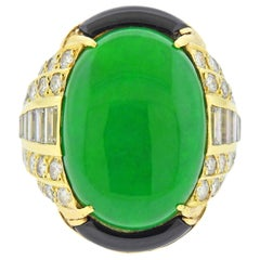 GIA Natural Jadeite Jade Onyx Diamond Gold Ring