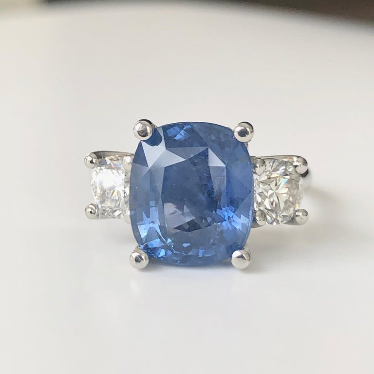 Art Deco GIA Natural No Heat Ceylon Sapphire and Diamond Engagement Platinum Ring For Sale