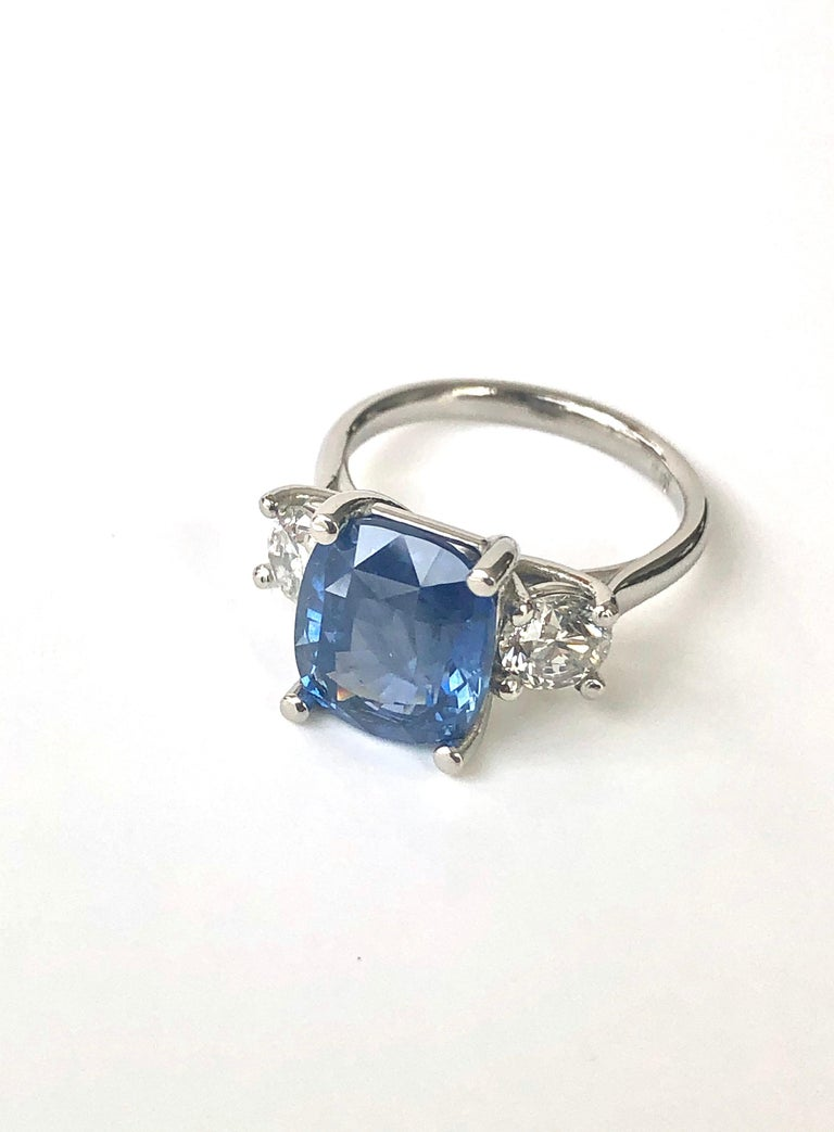 Cushion Cut GIA Natural No Heat Ceylon Sapphire and Diamond Engagement Platinum Ring For Sale