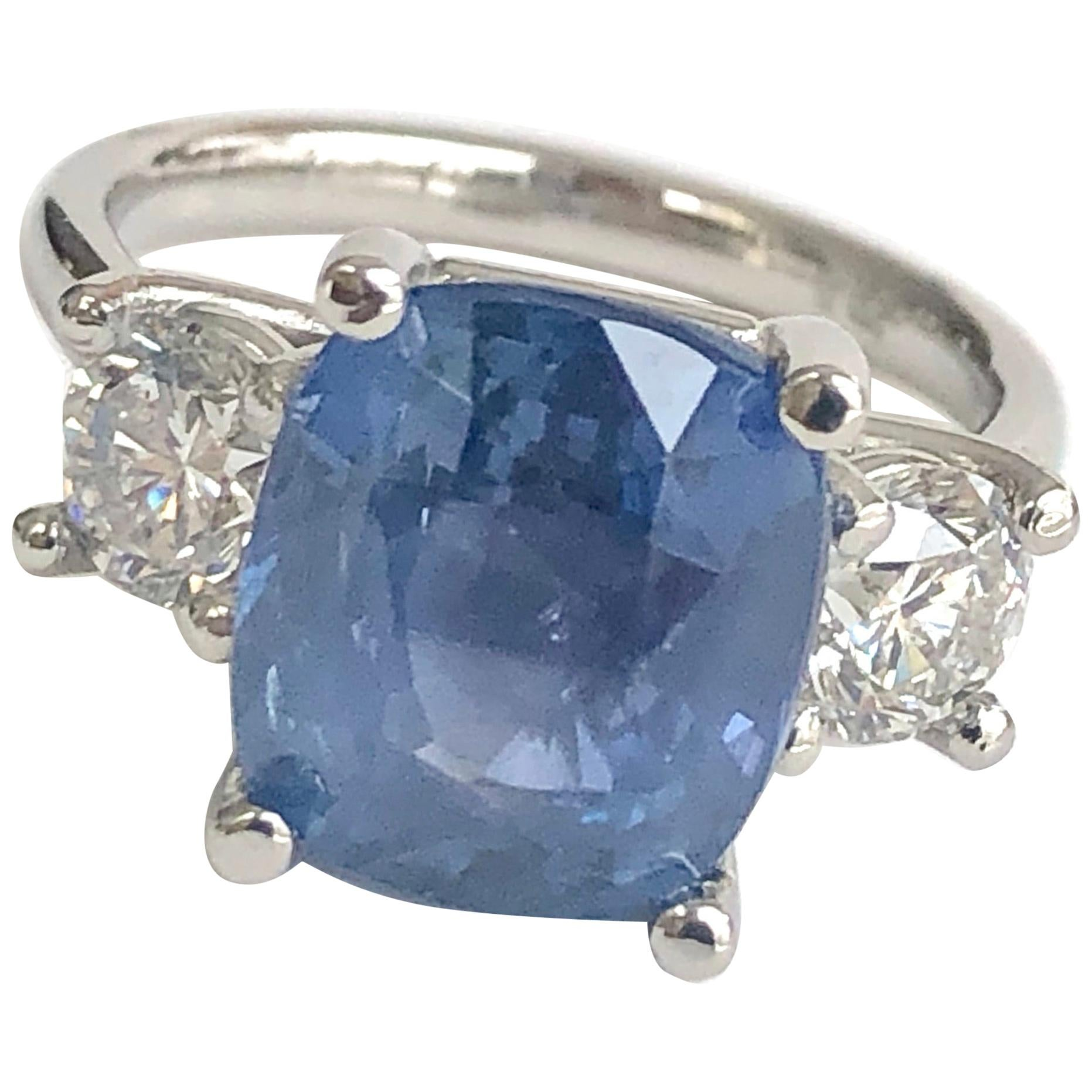GIA Natural No Heat Ceylon Sapphire and Diamond Engagement Platinum Ring