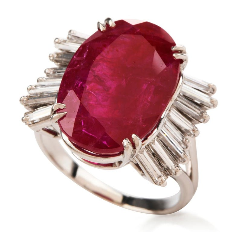 Art Deco GIA Natural No Heat Ruby Diamond Platinum Cocktail Ring For Sale