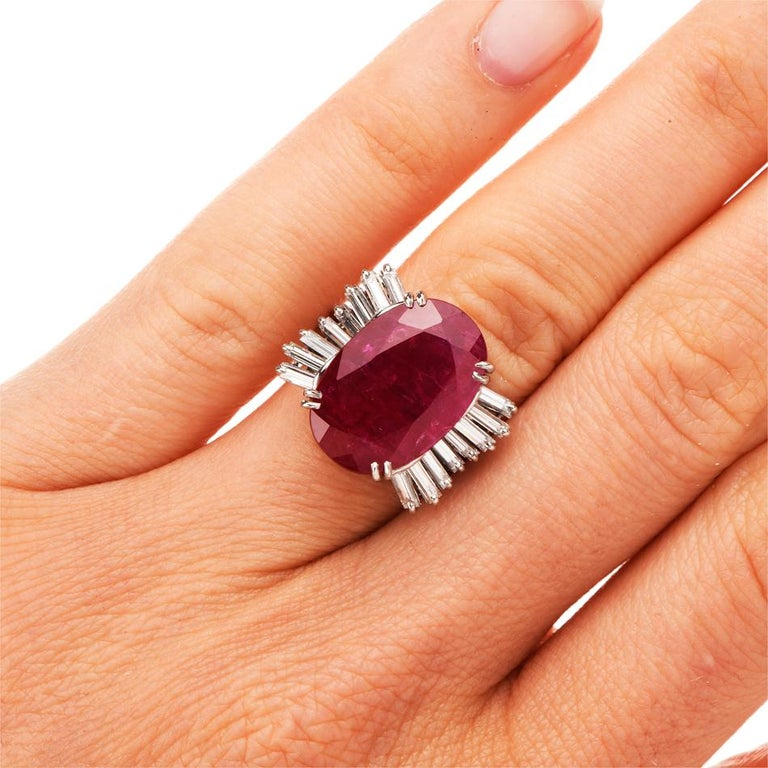 Oval Cut GIA Natural No Heat Ruby Diamond Platinum Cocktail Ring For Sale