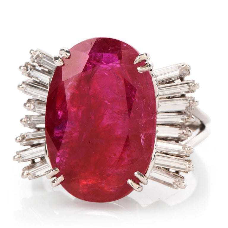 Women's or Men's GIA Natural No Heat Ruby Diamond Platinum Cocktail Ring For Sale