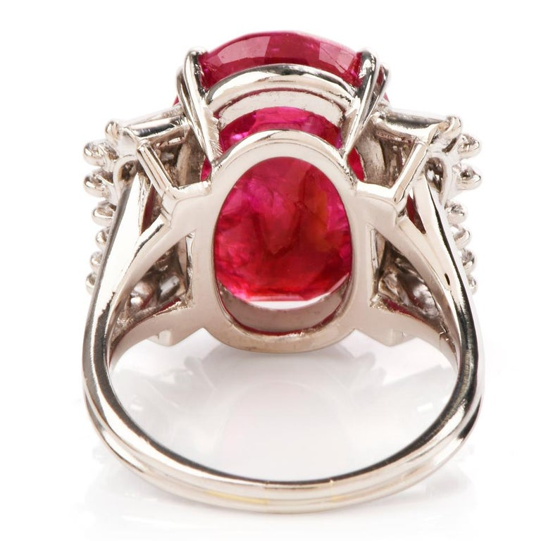 GIA Natural No Heat Ruby Diamond Platinum Cocktail Ring For Sale 1