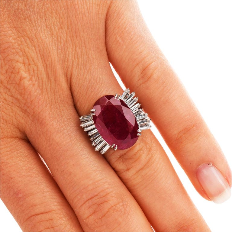 GIA Natural No Heat Ruby Diamond Platinum Cocktail Ring For Sale 3