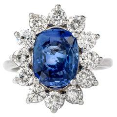 GIA Natural No Heat Sapphire Diamond 14 Karat Gold Cushion Halo Ring