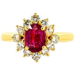 GIA Natural Oval Burma Ruby & Diamond Halo Ring in 18k Yellow Gold