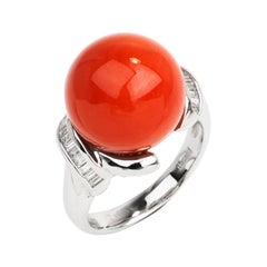 GIA Natural Red Coral Bead Diamond Platinum Cocktail Ring