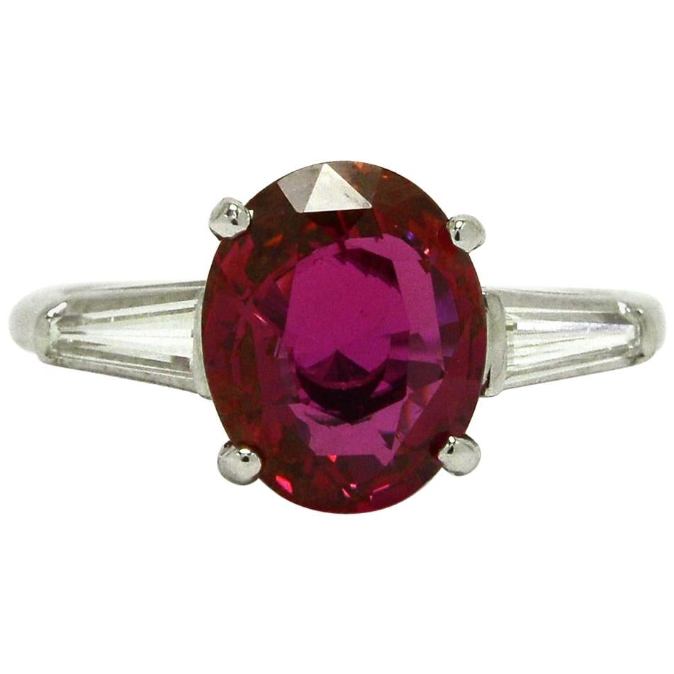 GIA Natural Ruby Engagement Ring 4 Carat Diamond Baguette Oval Solitaire 3 Stone