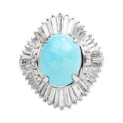 GIA Natural Turquoise Diamond Platinum Large Ballerina Cocktail Ring
