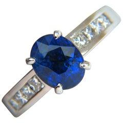 GIA No Heat 2.97 Carat Natural Gem Blue Sapphire Diamond Ring Unheated 14 Karat