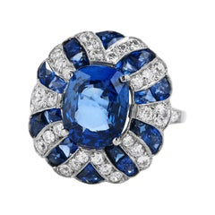 GIA No Heat Blue Sapphire Diamond Platinum Retro Cocktail Ring