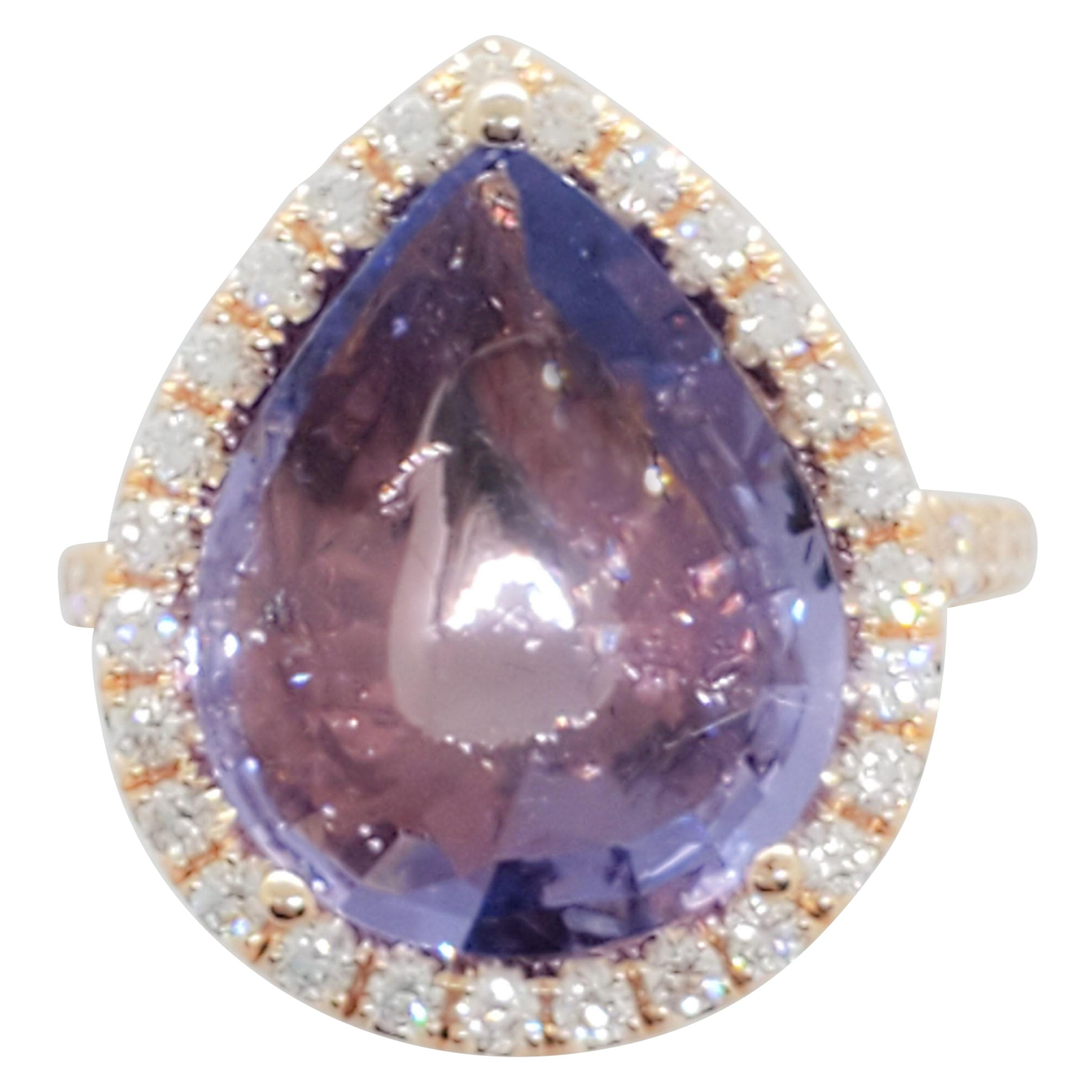 GIA No Heat Color Change Spinel Pear Shape and Diamond Cocktail Ring