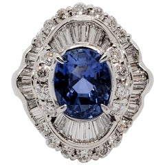 GIA No Heat Estate Burma Blue Sapphire Oval and White Diamond Cocktail Ring